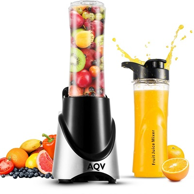 AQV mini Blenders Portable Blender With Travel Cup 300W Smoothie Maker With Stainless Steel 4 Action Blades Certisfied with ROh