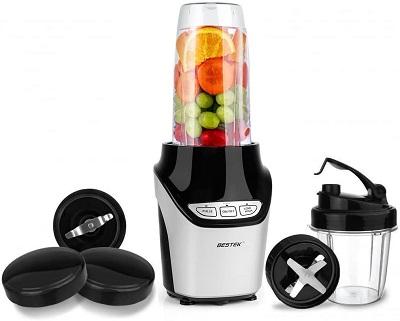 BESTEK 1000 Watts Power Blender Mixer High-Speed Food Extractor Juicer Smoothies Maker 8 Piece Set Food Fruit Processor, Silver