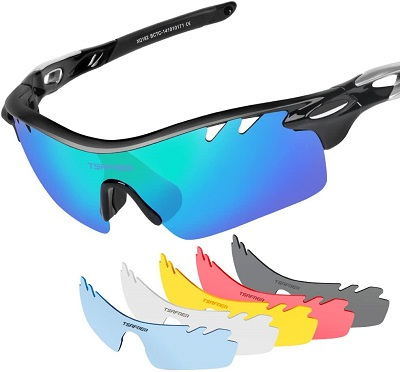 Polarized Sports Sunglasses with 6 Interchangeable Lenses, Tsafrer Tr90 Unbreakable Sunglasses for Men and Women Cycling, Driving, Running Golf